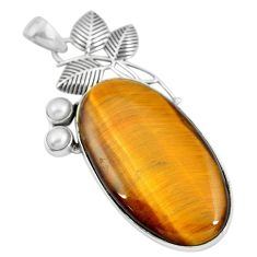 Natural brown tiger's eye pearl 925 sterling silver pendant d30761