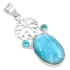 925 sterling silver natural blue aquamarine topaz pendant jewelry d30764