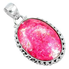 Natural pink thulite (unionite, pink zoisite) 925 silver pendant d30781