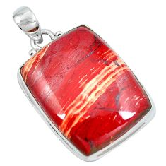 925 sterling silver natural red snakeskin jasper octagan pendant jewelry d30784