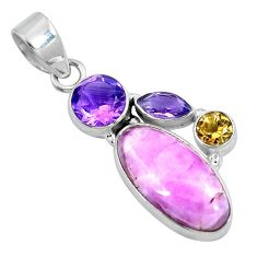 Natural pink kunzite amethyst 925 sterling silver pendant jewelry d30786