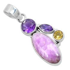 Natural pink kunzite amethyst 925 sterling silver pendant jewelry d30790