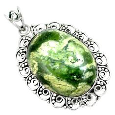 Natural green rainforest rhyolite jasper 925 silver pendant d30796
