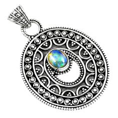 Natural multi color ethiopian opal 925 sterling silver pendant jewelry d30813