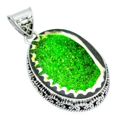 Clearance Sale- Natural green geode druzy 925 sterling silver pendant jewelry d30822