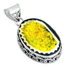 Clearance Sale- Natural yellow geode druzy 925 sterling silver pendant jewelry d30825