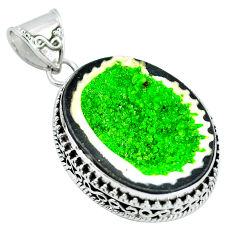 Clearance Sale- Natural green geode druzy 925 sterling silver pendant jewelry d30826