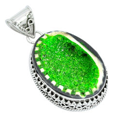 Clearance Sale- Natural green geode druzy 925 sterling silver pendant jewelry d30827