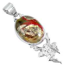 Clearance Sale- Natural brown mushroom rhyolite 925 silver angel wings fairy pendant d30828