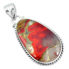 Clearance Sale- Natural brown moroccan seam agate 925 sterling silver pendant d30836