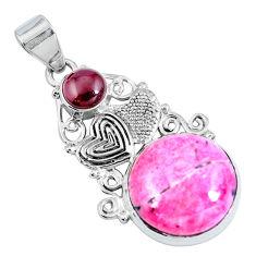 Natural thulite (unionite, pink zoisite) 925 silver couple hearts pendant d30839