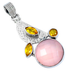 Clearance Sale- Natural pink rose quartz citrine 925 sterling silver pendant d30842