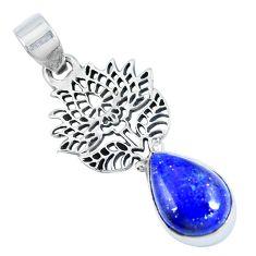 Clearance Sale- Natural blue lapis lazuli 925 sterling silver flower pendant d30850