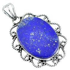 Natural blue lapis lazuli 925 sterling silver pendant jewelry d30853