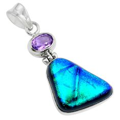 925 sterling silver multi color dichroic glass amethyst pendant jewelry d30865