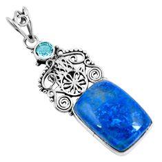 Clearance Sale- Natural blue shattuckite 925 silver hand of god hamsa pendant d30871