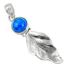 Clearance Sale- Natural blue apatite (madagascar) 925 silver deltoid leaf pendant d30873