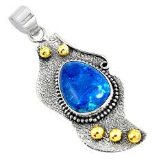 Clearance Sale- Natural blue shattuckite 925 sterling silver pendant jewelry d30879
