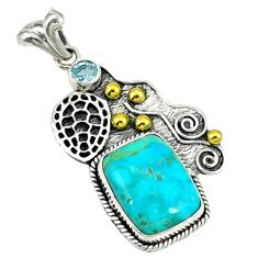 Clearance Sale- Victorian blue arizona mohave turquoise 925 silver two tone pendant d3621