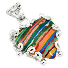 Clearance Sale- Natural multi color rainbow calsilica 925 sterling silver pendant d3641