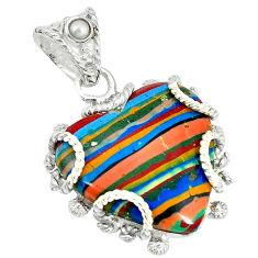 Clearance Sale- lor rainbow calsilica pearl 925 silver pendant d3646