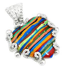 Clearance Sale- ver natural multi color rainbow calsilica pendant jewelry d3651