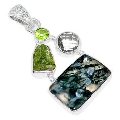 Clearance Sale- Natural green moss agate peridot rough 925 silver pendant jewelry d3721