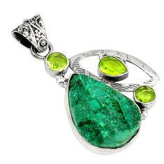 Clearance Sale- druzy peridot 925 sterling silver pendant jewelry d3776