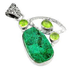 Green malachite druzy peridot 925 sterling silver pendant jewelry d3779