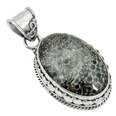 Clearance Sale- Natural black stingray coral from alaska 925 sterling silver pendant d3796