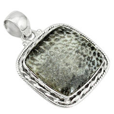Clearance Sale- 925 silver natural black stingray coral from alaska pendant jewelry d3798