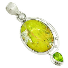 Natural yellow lizardite (meditation stone) 925 silver pendant jewelry d3823