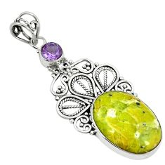 Clearance Sale- Natural yellow lizardite (meditation stone) 925 silver pendant jewelry d3830