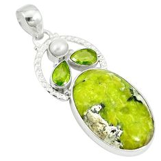 Clearance Sale- Natural yellow lizardite (meditation stone) pearl 925 silver pendant d3831