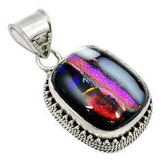 Multi color dichroic glass 925 sterling silver pendant jewelry d3872
