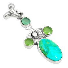 Clearance Sale- 925 silver green arizona mohave turquoise prehnite pendant jewelry d3890