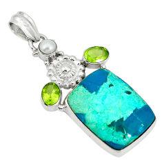 Clearance Sale- Natural blue shattuckite peridot pearl 925 sterling silver pendant d3902