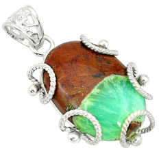 Clearance Sale- Natural brown boulder chrysoprase 925 sterling silver pendant d3950