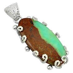Clearance Sale- Natural brown boulder chrysoprase 925 sterling silver pendant d3952