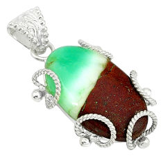 Clearance Sale- Natural brown boulder chrysoprase 925 sterling silver pendant d3954