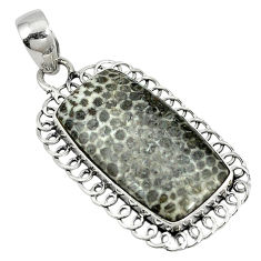 Clearance Sale- 925 silver natural black stingray coral from alaska pendant jewelry d4011