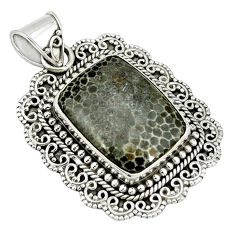 Clearance Sale- Natural black stingray coral from alaska 925 sterling silver pendant d4012