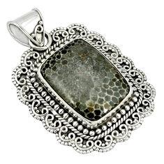Natural black stingray coral from alaska 925 sterling silver pendant d4012
