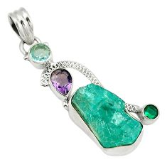 Blue apatite rough amethyst 925 sterling silver pendant jewelry d4021