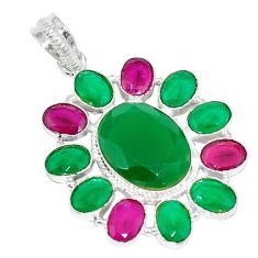 Clearance Sale- Green emerald red ruby quartz 925 sterling silver pendant jewelry d4126