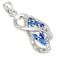 Clearance Sale- Blue sapphire quartz topaz 925 sterling silver pendant jewelry d5039