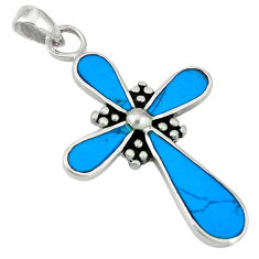 Clearance Sale- Fine blue turquoise enamel 925 sterling silver holy cross pendant d5164