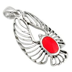 Clearance Sale- Red coral enamel 925 sterling silver pendant jewelry d5172