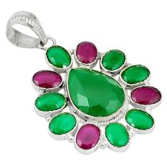 Clearance Sale- Natural green chalcedony ruby quartz 925 sterling silver pendant jewelry d5250