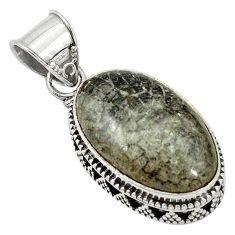 Natural black stingray coral from alaska oval 925 silver pendant d5279